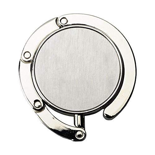 2X WPRO Handtaschenhalter Nicola Metall | Etui | Handtasche | Tisch - Geschenkbox - Damen Silber Faltbar