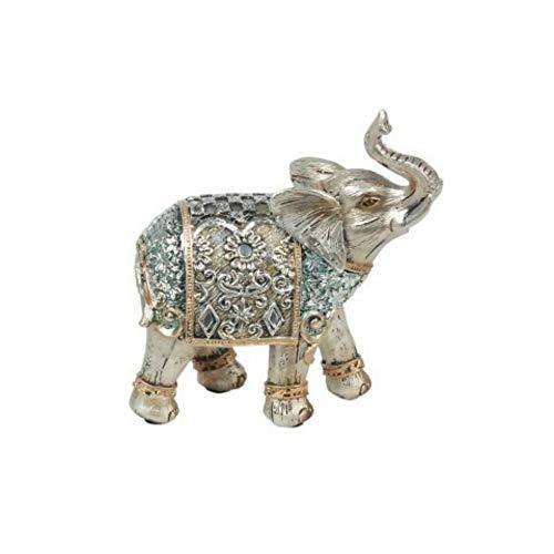 CAPRILO Figura Decorativa India de Resina Elefante Étnico Adornos y Esculturas. Animales....