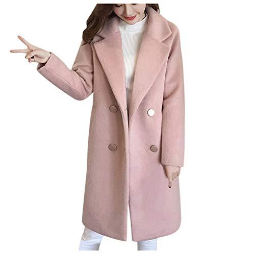 Deloito Winter Übergangs Parka Outwear Damen Vintage Trenchcoat Büro Arbeit Freizeit Lose Windjacke Langarm Knopf Wollmantel Lange Wolljacke (C-Rosa,Medium)