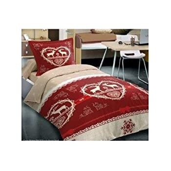 Alpes Blanc Housse De Couette 140x200 Chalet Winter Rouge Amazon Fr