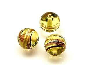 1pc Tschechische Glas Lampwork Beads Runde 10 mm Amber dekoriert schwarz, aventurin und weißen Streifen