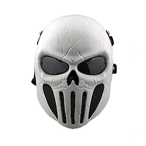 WorldShopping4U Tactical Airsoft Full Face Skull Skeleton Mask Paintball Game Cs War Game Protection Safety Guard for Outdoor Hunting Activity Costume Bar Theme Party Halloween Carnival Cosplay