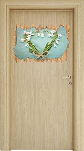 t Buntstift Effekt Holzdurchbruch im 3D-Look , Wand- oder Türaufkleber Format: 62x42cm, Wandsticker, Wandtattoo, Wanddekoration (Günstige Rustikale Hochzeits-einladungen)