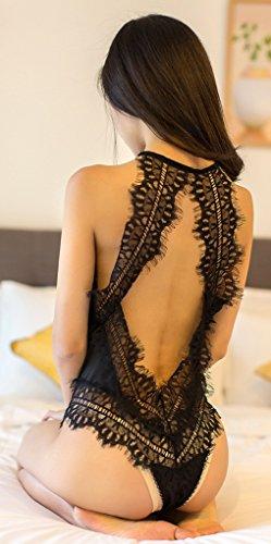 Ailin home- Sexy Dew Hollow Lace Temptation Siamese Pyjamas Stück Hanging Neck Sexy Dessous Schwarz
