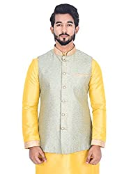 Manyavar Men Light Green Nehru Jacket (Medium)