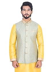 Manyavar Men Light Green Nehru Jacket (Small)