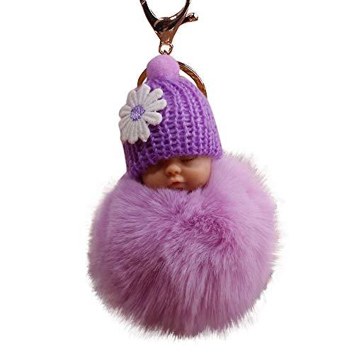 (Gaddrt Schlüsselkette Niedlichen Pelz Flauschigen Pompom schlafen Baby Doll Schlüsselanhänger Schlüsselanhänger Taschen Charm Anhänger 8cm (Lila))