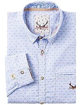 Stockerpoint Herren Trachtenhemd langarm hellblau karo Bergfeuer 002943