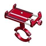 CHEREEKI Porta Cellulare Bici, Supporto Bici Smartphone Lega di Alluminio con 360° Rotazione per Bicicletta, Ciclismo, GPS e Altri Smarphones 3,5-6,5 Pollici (Rosso)