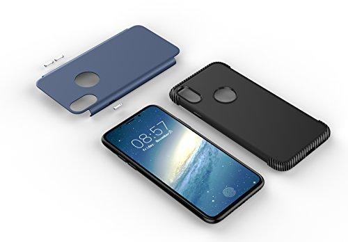 iPhone X Hülle,MOONESS 2 in 1 Slim Fit Schlagfesten Stoßstangen Bumper Case Kratzfeste Schlanke Handyhülle für iPhone X 5.8 pollici(Silber) Blau