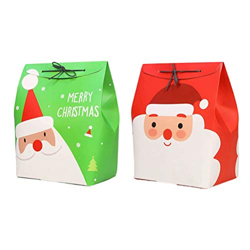 (Toyvian DIY Taschen mit Seil Weihnachtsmann Muster Candy Apple Papier Box Container für Heiligabend 12 stücke (Rot + Grün))