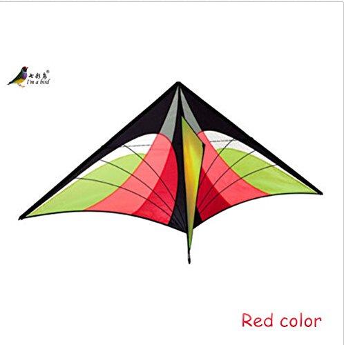 FZSWD Drachen Spielzeug 5.2Ft Hochwertige Power Single Line Red Dreieck Kite Mit Griff Und Linie Gute FliegendeVerkauf,Rote Farbe (Line Red Single)