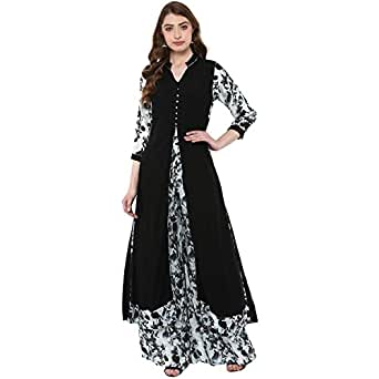 ZIYAA Women's Rayon A-Line kurta with Palazzo (Pack of 2)