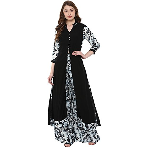 ZIYAA Women's A-Line kurta with Palazzo (Pack of 2) (ZIKURY2115ANDPL-XXL_Black_XX-Large)