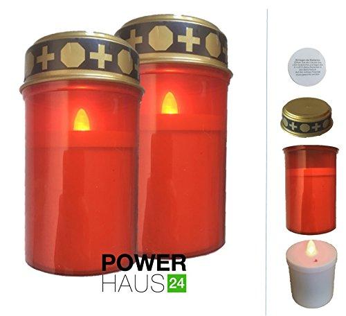 Preisvergleich Produktbild 2 x LED Grablicht - batteriebetrieben mit Flackerlicht - für bis zu 3 Monate Leuchtdauer