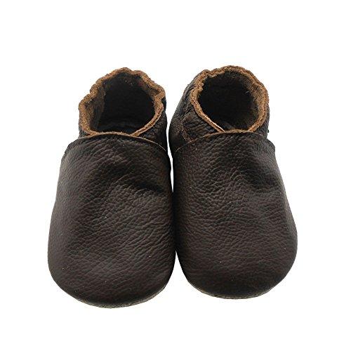 Sayoyo Premium WeichesLeder Lauflernschuhe Krabbelschuhe Babyschuhe Brown