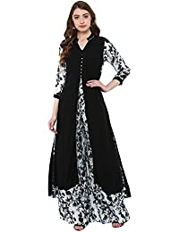 Ziyaa Women's Black Colour 3/4Th Sleeve Rayon Flared Kurta Palazzo Set