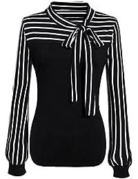 375ba78af8 Chemise Femmes Cravate-Bow Cou Rayé Manches Longues épissage T Shirt Chemisier  Casual Chemise Classique