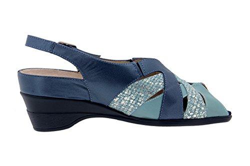 Chaussures Confort Femme Cuir Piesanto 4153 Sandales Semelle Amovible Confort Largeur Spéciale Marino