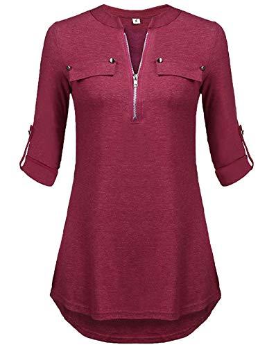 3/4 Ärmel Plus Size Bluse (Buse Damen Elegant V-Ausschnitt T-Shirt Herbst 3/4 Ärmel Tunika Oberteil Weinrot XL)