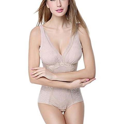 Aivtalk - Body Fino Faja Moldeadora Reductora cuello V sin costuras para Mujeres - Color de piel Negro - L XL