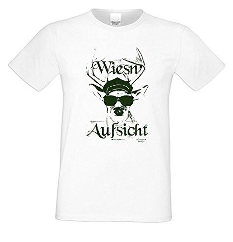 Wiesn - Aufsicht ::: Herren T-Shirt mit lustigem Hirsch-Fun-Sprüche-Motiv Geweih Wild Volksfest Oktoberfest Trachtenshirt Farbe: weiss Weiß