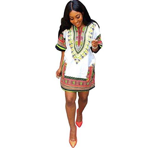 Yogogo Frauen Afrikanischer Druck-Kleid beiläufige gerade Drucken über Knie-Minikleider (Nationale Kostüme 81)