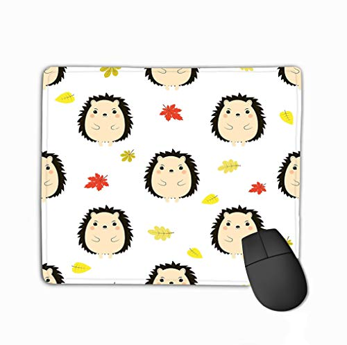 Custom Mouse Pad,11.81 X 9.84 Inch Unique Printed Mouse Mat Design Pattern Hedgehog Autumn Smiling Isolated White Leaves Cute Cartoon Funny Holiday Halloween