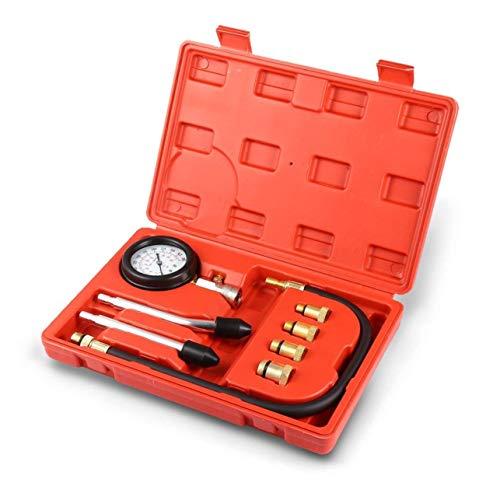 Meccion - Medidor de presión de Cilindro de Motor, Herramienta de diagnóstico, Juego de 8 Piezas de comprobador de compresión Profesional de Bomba de Combustible diésel y Gasolina
