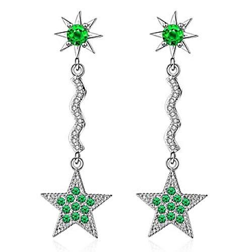 Women s Ggrünen Zirkonia Perlen lange Ohrringe baumeln Ohrringe platiniert Imitation Diamond S925 Sterling Silber Ohrringe Star Ladies Dangling koreanische süße Schmuck grün für Datum Geburtstag - Baumeln Diamond Ohrringe