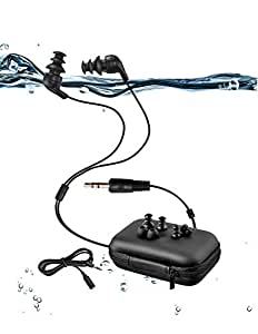 100% waterproof swimming headphones with 3 type earbuds for sort of sports(P.s:Only waterproof headphones without mp3 player) … (Short cord)