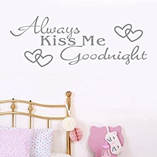 Sixcup  Wall Sticker, Always Kiss Me Goodnight Home Decor Removable DIY Quote Wall Sticker Decal Letter Words Art Wall Room Bedroom Vinyl Art Mural (gray)