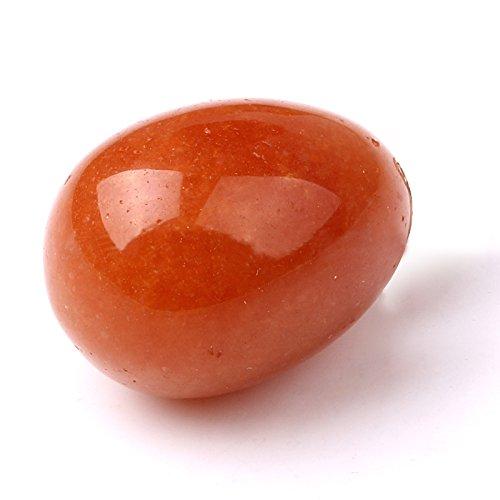 Crocon Rot Aventurin Edelstein handgeschnitzt Ei für Reiki Healing Meditation Chakra Balancing und Home Dekoration (Ständer Kostenlos) Größe 7,6cm ca.