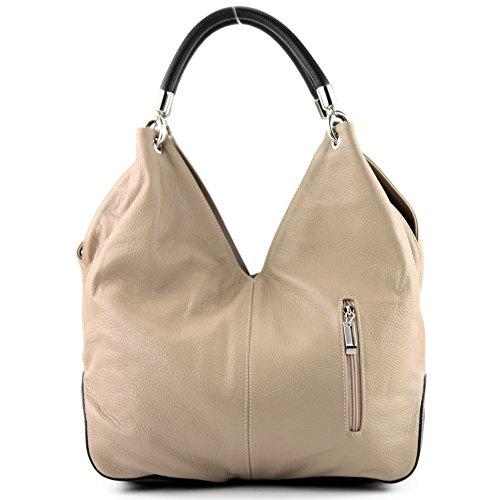 modamoda de - ital. Ledertasche Handtasche Shopper Damentasche Schultertasche Leder 330 Beige/Dunkelbraun