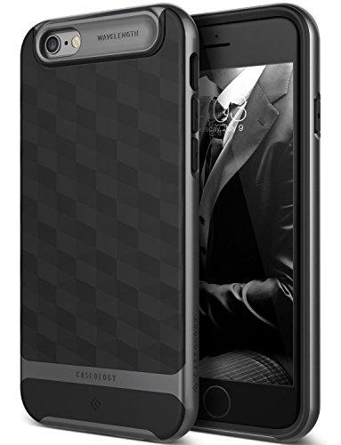 iPhone 6S Hülle, Caseology [Parallax Serie] Schlank Doppelte Schutz Haftung dank Textur geometrischem Design [Schwarz - Black] für Apple iPhone 6S (2015) & iPhone 6 (2014)