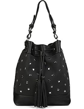 styleBREAKER XL Bucket Bag Beuteltasche mit Stern Nieten und Quasten, Shopper, Umhängtasche, Handtasche, Tasche...