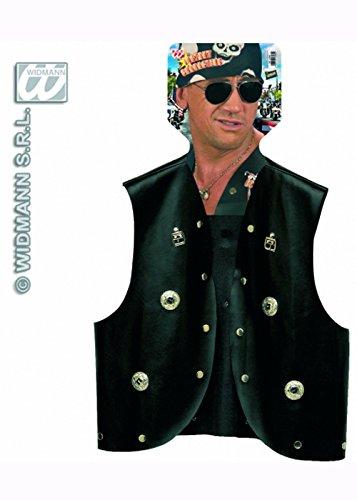 Mens Schwarz 80er Punk Rocker Biker Weste (Mens 80er Jahre Rocker Kostüm)