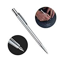 """Aolvo Tungsten Carbide Scribe 5.9"""" Heavy Duty Metal Scribe Tool Etching Tool Pen Engraver with Hardened Tip Multipurpose for Metal/Stainless steel/Glass/Ceramics, with Protective Rubber Cap, Silver"""