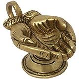 ShalinIndia Hand Shape Diya with Handle Brass Metal Oil Wick Lamp for Aarti Puja (1.75x4x2.25-inch)