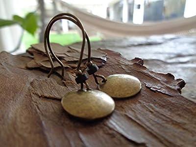 ? BRONZE VINTAGE LAVEUSE & RONDELL CÉRAMIQUE NOIRE ? boucles d'oreilles vintage en bronze