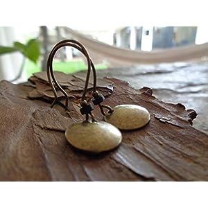 ★ BRONZE VINTAGE SCHEIBE & SCHWARZES KERAMIK RONDELL ★ bronze vintage Ohrringe