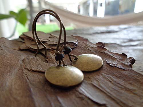 ★ BRONZE VINTAGE SCHEIBE & SCHWARZES KERAMIK RONDELL ★ bronze vintage Ohrringe (Bronze-türkis-ohrringe)