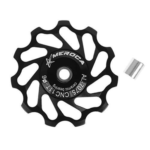 jiulonerst 4 Farben optional 11T Fahrrad Aluminium Lager Stützrad Hinterrad Umwerfer Riemenscheiben Fahrrad Teile Zubehör m schwarz (Hydraulische Pedale)