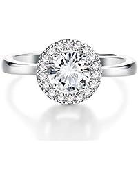3d7403b00bab Anillo de compromiso de plata de ley 925 con cristales para mujeres y  niñas