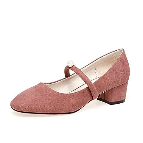 Retro Mary Jane Schuhe Ankle Banded flache Schuhe Elegante Casual Schuhe ( Farbe : Pink , größe : 39 )