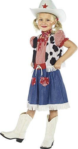 Smiffys Kinder Cowgirl Liebling Kostüm, Kleid, Weste, Halstuch, Gürtel und Hut, Größe: M, 36328 (Mädchen Cowboy Kostüm)