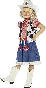 Smiffys-36328M Disfraz de niña vaquerita, con Vestido, Camiseta, Bufanda, cinturón y somb, Color Azul, M-Edad 7-9 años (Smiffy