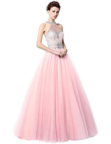 Sarahbridal Damen Lang Ballon Tuell Perspektive Ausschnitt Ballkleid Perlen Glanz Stein Abendkleider SLX010 Rosa