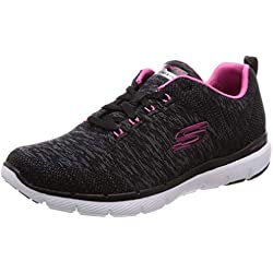 Skechers Flex Appeal 3.0, Zapatillas para Mujer, Negro (Black Knit Mesh/Hot Pink Trim), 38 EU