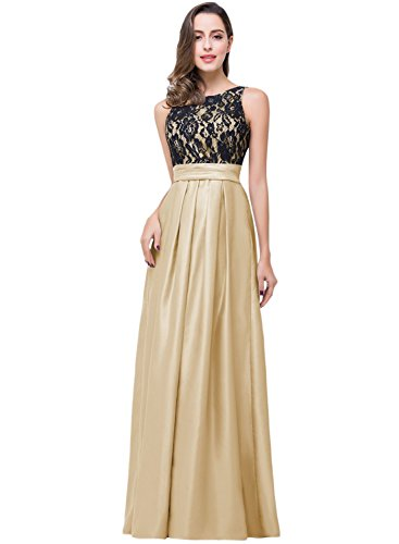 Azbro Women's Floral Lace Paneled Pleated Prom Dress gold